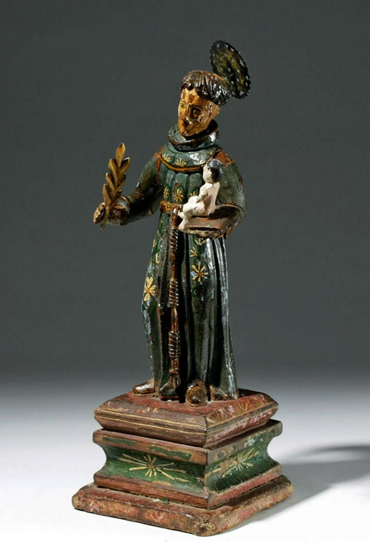 19th C. Mexican Wood Santo - St. Anthony of Padua