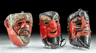 Vintage Guatemalan Wood Dance Masks (3)