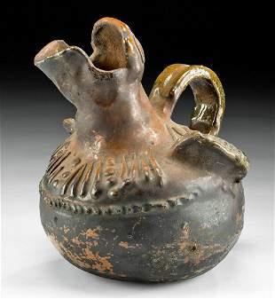 20th C. Guatemalan Glazed Pottery Vessel Bird Spout