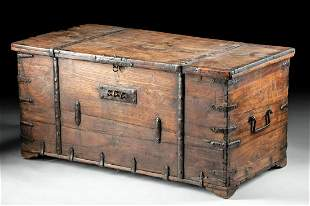 19th C. American Wood Storage Chest w/ Iron Fittings
