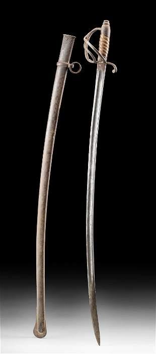19th C. USA Civil War Era Steel & Wood Sword & Scabbard