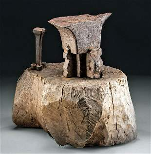 Early 18th C. Spanish Colonial Iron Anvils & Wood Block