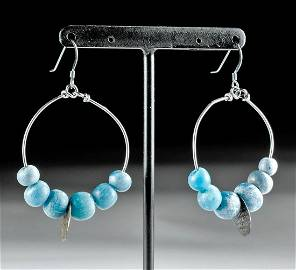 Viking Glass Bead Hoops with Stamped Metal Charm