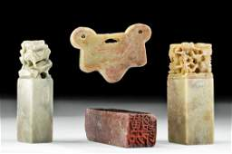 Four 19th C. China Qing Dynasty Soapstone Items