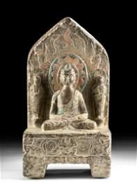 Chinese Qi Limestone Stela w/ Buddha & Bodhisattvas