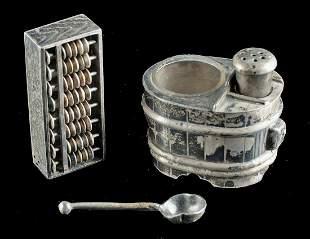 Japanese Meiji / Taisho Silver Salt Shaker + Cruet