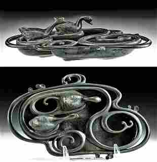 Japanese Meiji Bronze Bowl w/ Geese on Pond