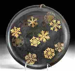 Japanese Meiji Lacquered Wood Dish w/ Maki-e Snowflakes