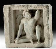 3rd C. Gandharan Schist Panel w/ Greek Titan Atlas