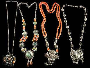 20th C. Tibetan Necklaces Brass, Silver & Turquoise (4)