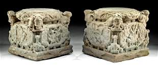 Chinese Ming Sandstone Pedestals w/ Snow Lions (pr)