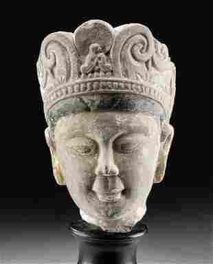 Chinese Ming Dynasty Stucco Head of Bodhisattva