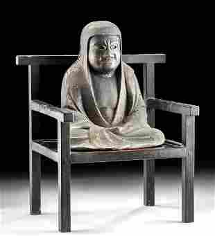 Early 20th C. Japanese Wood Chair + Seated Daruma
