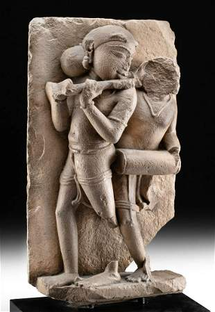 18th C. Indian Stone Panel – Flute Player + Drummer