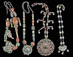 19th C. Tibetan Nickel-Brass / Silver Beaded Necklaces