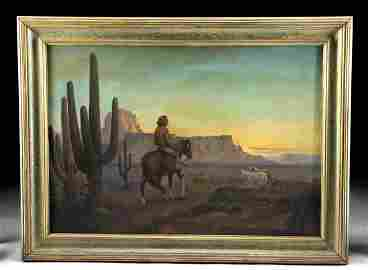Signed 1945 American Southwest Oil Painting - Maraio T.