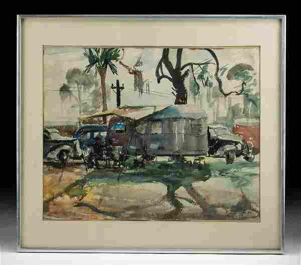 Framed William Draper Watercolor - Campsite, 1940