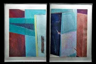 Framed Pair of Large Pastels - L. Stein, 1980s