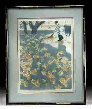 "Framed Yu Qi-hui Woodblock ""West Lake in Autumn"" 1983"