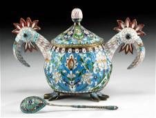 19th C. Russian Gilt Silver Enamel Vessel - Grachev