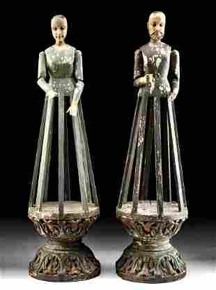 18th C. Spanish Colonial Wood Santos Cage Dolls