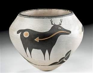 Sarah Garcia Acoma Pottery Heartline Deer Vessel, 1960s