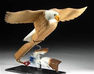 Signed 20th C. Northwest Coast Wood Eagle Rattle
