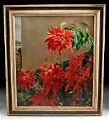 Framed William Draper Painting - Poinsettia, 1970