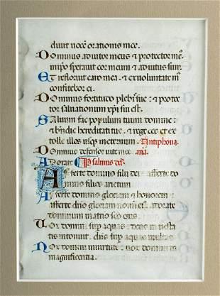 13th C. Illuminated Vellum Franciscan Missal Page