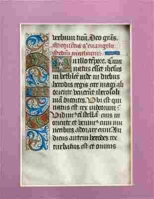 15th C.  French Illuminated Vellum Page, Book Of Hours