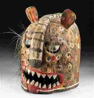Mid-20th C. Mexican Polychrome Wood Jaguar Helmet Mask