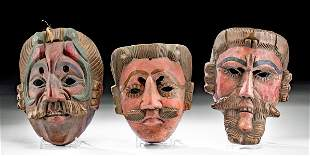 Lot of 3 Vintage Guatemalan Painted Wood Masks