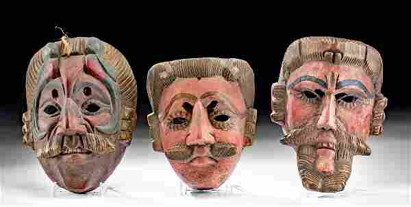 Lot of 3 Vintage Guatemalan Painted Wood Masks
