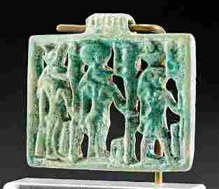 Egyptian Glazed Faience Openwork Amulet w/ 3 Deities