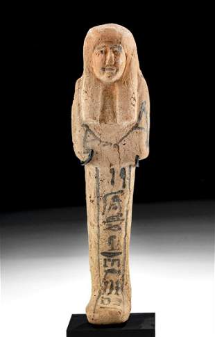 Egyptian New Kingdom Terracotta Ushabti Hieroglyphics