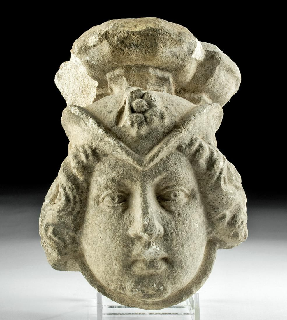 14th C. Spanish Medieval Limestone Carving of Youth