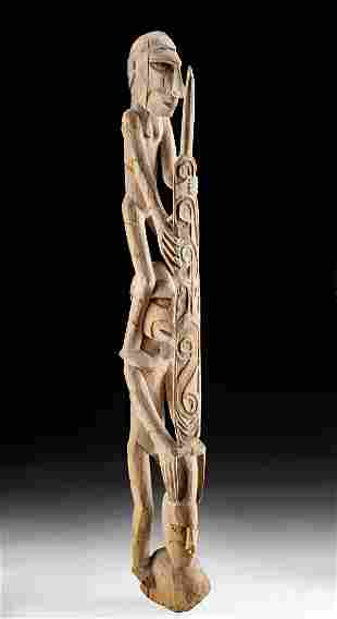 20th C. Indonesian Asmat Carved Wood Ancestor Pole