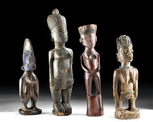 Lot of 4 Mid 20th C. African Wood Female Figures
