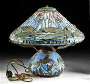 Vintage American Stained Glass Lamp w/ Dragonflies