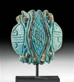 Egyptian Glazed Faience Quadruple Eye of Horus Amulet