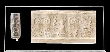 Greek Cypriot Stone Cylinder Seal - Eyes / Zoomorphs
