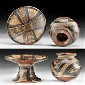 Panamanian Cocle Pottery Pedestal Dish & Jar