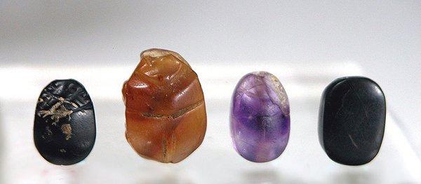 2: Egyptian Stone Scarabs, Set of 4