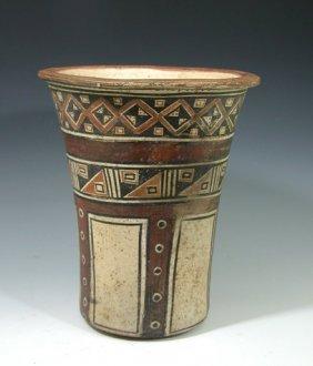 7: Pre-Columbian Inca Polychrome Kero