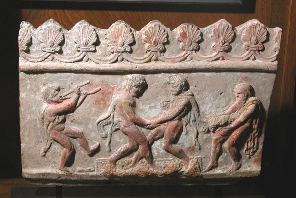 25: Important Greco-Roman Plaque - Satyrs