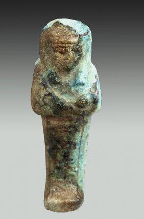 Egyptian Blue-Glazed Faience Shabti - User-hat