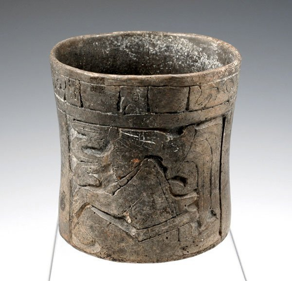 36: Pre-Columbian Mayan Carved Cylinder