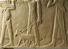 45: Large Rare Egyptian Old Kingdom Limestone Relief