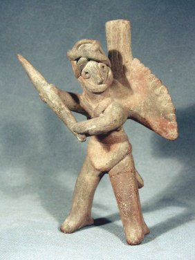 Pre-Columbian Colima Warrior Whistling Figure