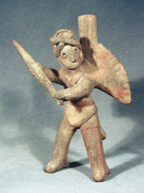 47: Pre-Columbian Colima Warrior Whistling Figure